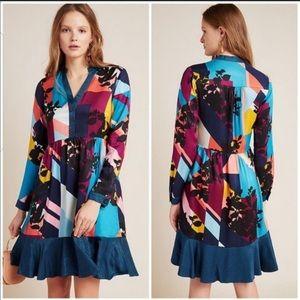 Anthropologie Maeve Gillian Abstract Shirt Dress